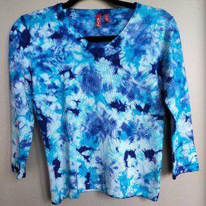 525 Cotton V sweater hand dyed mutli